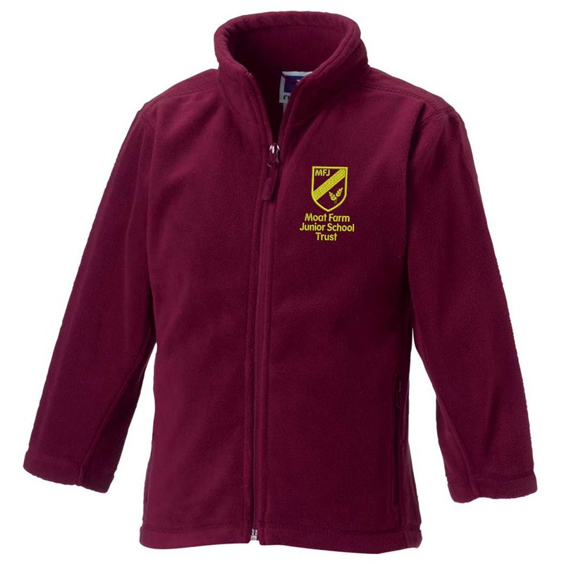 Maroon full zip fleece jacket, embroidered Moat Farm logo to left breast