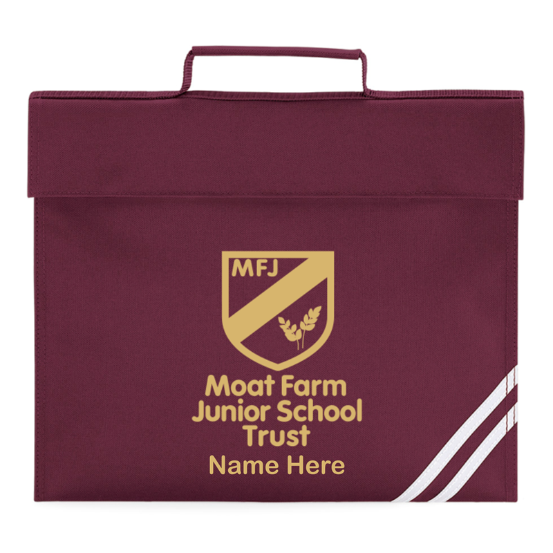 Book Bag printed with Moat Farm logo and name