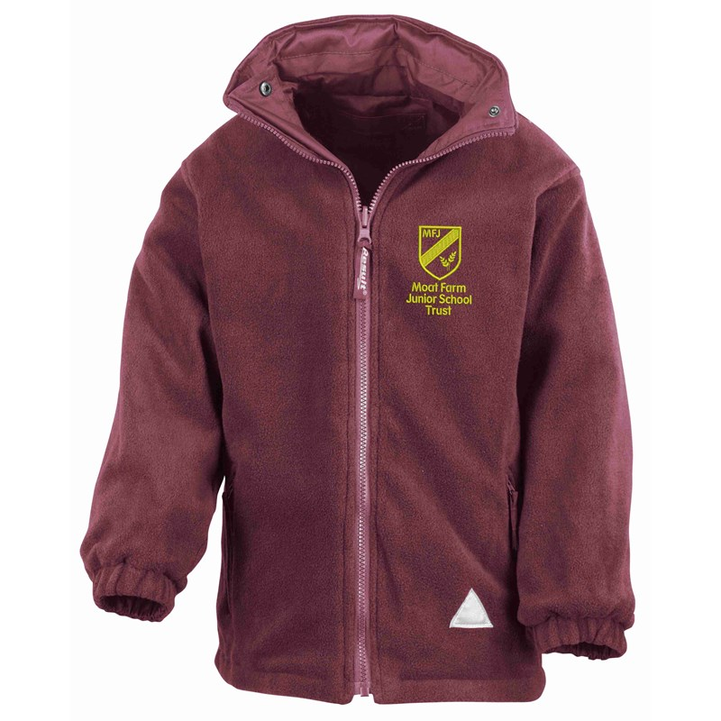 Reversible Storm Jacket, fleece inner. Embroidered logo to outer layer