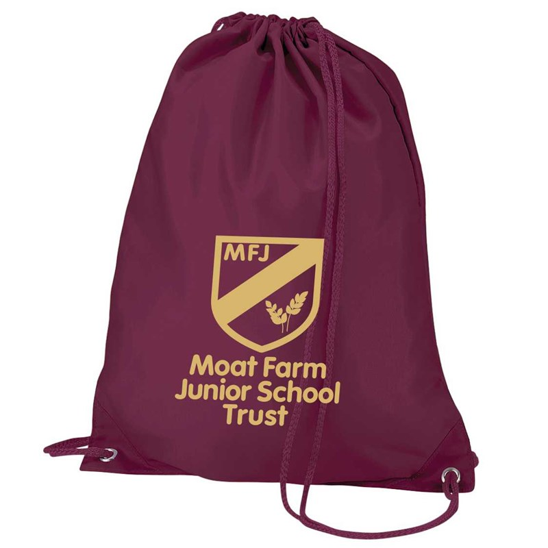 PE Bag prited with Moat Farm School logo