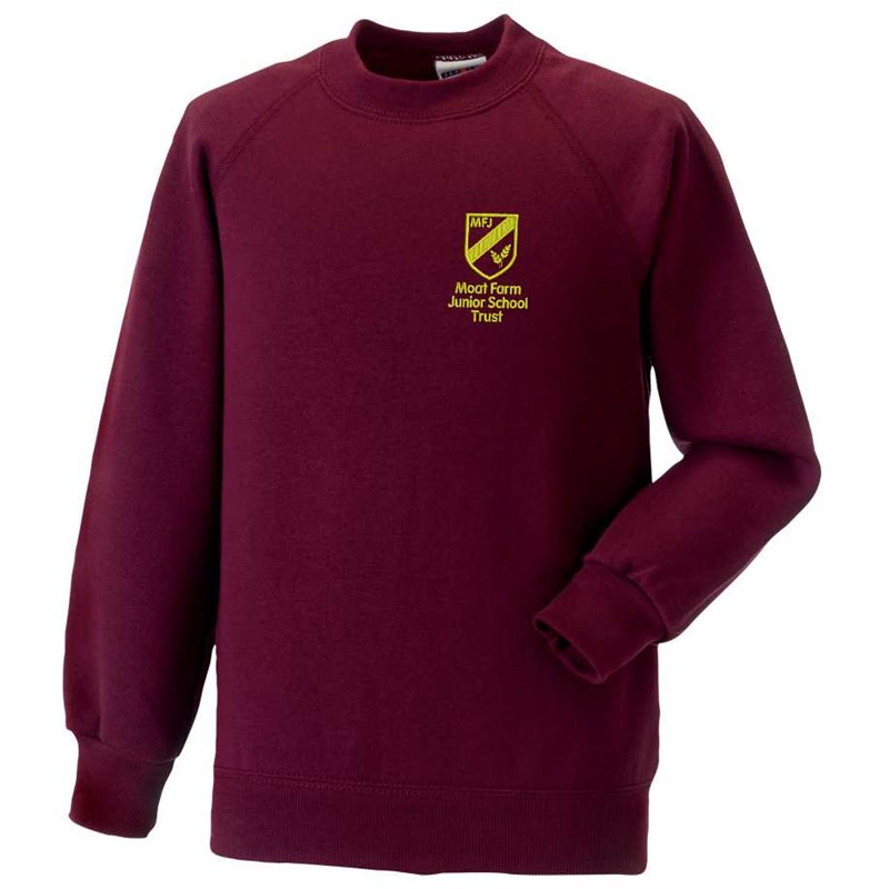 Maroon Crew neck sweatshirt, embroidered Moat Farm logo to left breast