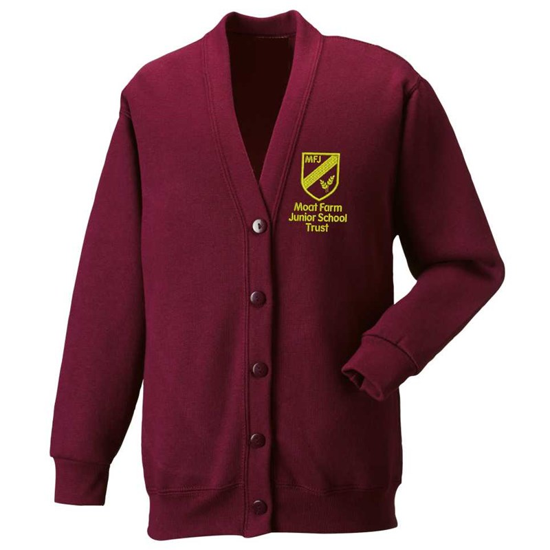 Maroon Cardigan, embroidered Moat Farm logo to left breast